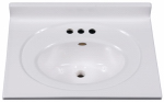 Imperial Marble VS2519SPW Bathroom Vanity Top, Solid White Cultured Marble, 25 x 19-In.