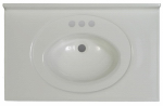 Imperial Marble VS3119SPW Bathroom Vanity Top, Solid White Cultured Marble, 31 x 19-In.