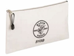 Klein Tools 5139 7.5 x 12-Inch White Canvas Zipper Bag